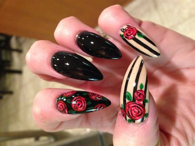 Red roses and stripes by Oli123 - Nail Art Gallery nailartgallery ...