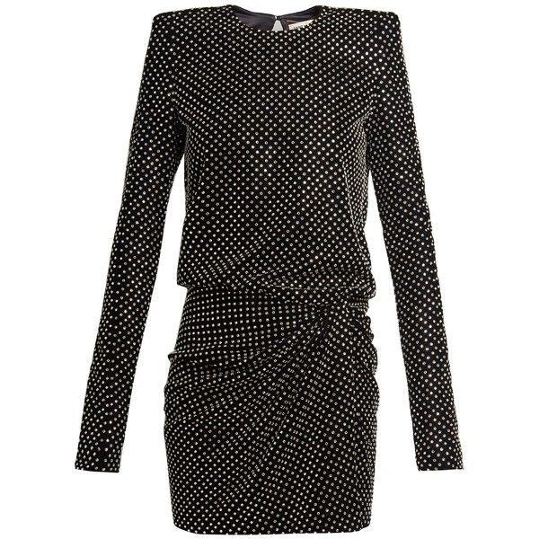 Crystal-embellished square-shoulder dress Saint Laurent VBWZRN