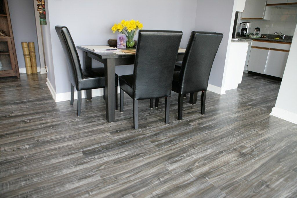 Interior Varnished Grey Laminate Flooring With Blue Walls