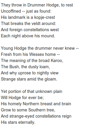 Drummer Hodge By Poet Thomas Hardy A Poem Inspired By The Anglo Boer War In What Is Now South Africa 1899 To 1902 Http Anna Inspirational Words Poems Words