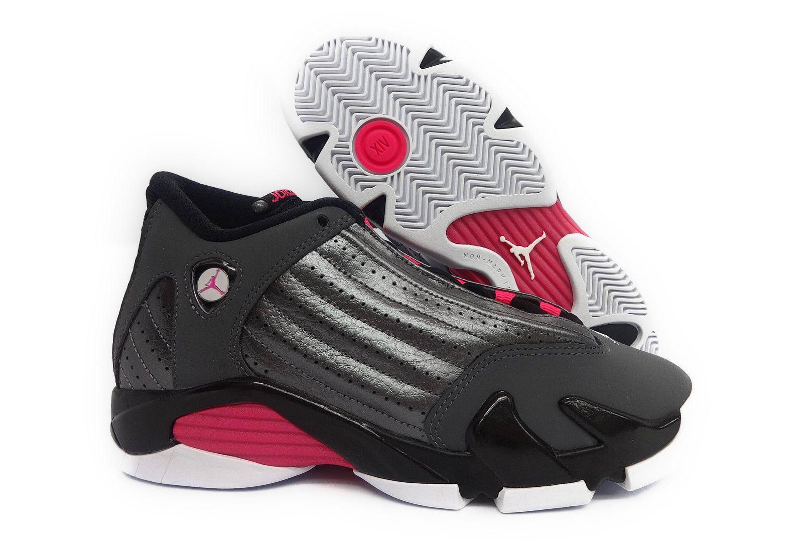 pretty nice 47237 97252 ... promo code nike air jordan 14 retro gg grey pink black white gs kids  sneaker size