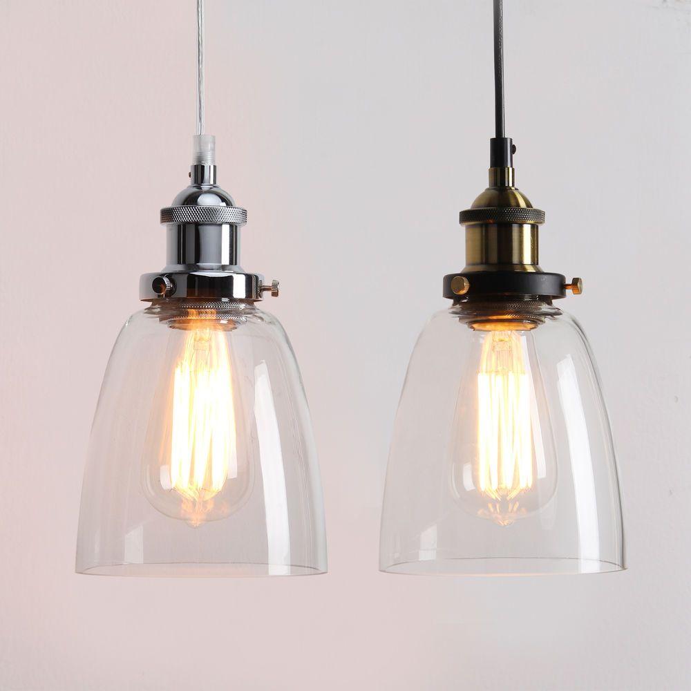 Retro Vintage Industrial Pendant Light Hanging Lamp Glass Shade