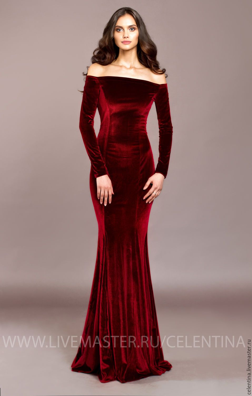 a326bc2e3ff92d4 Купить Длинное бархатное вечернее платье в пол. Красное платье из бархата -  ярко-красный