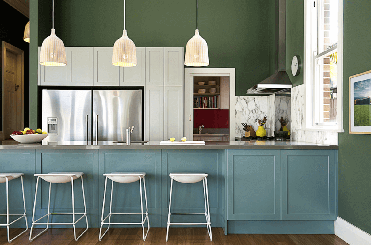 Trending Kitchen Wall Colors For The Year 2019 Green Kitchen Cabinets Kitchen Cabinet Colors Kitchen Colors