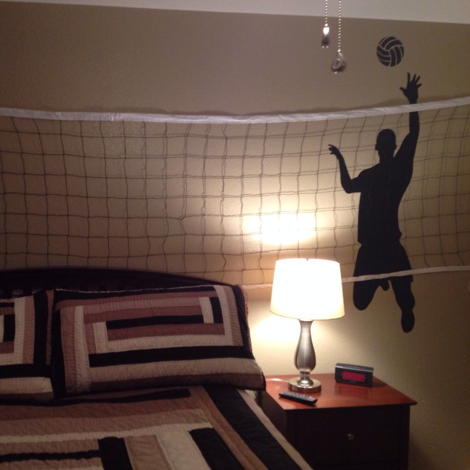 boys volleyball bedroom wall decal from amazon and net from walmart - Volleyball Bedroom Decor