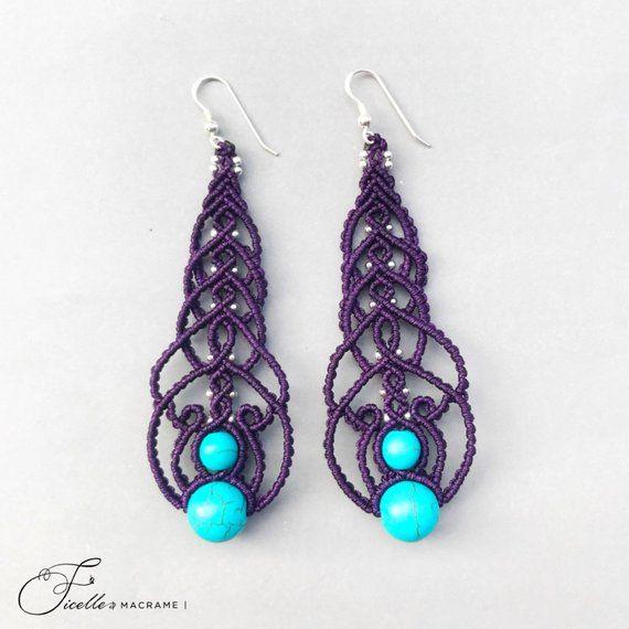 Dark Purple Macrame Earrings Silver Beads Colored Earrings Stone