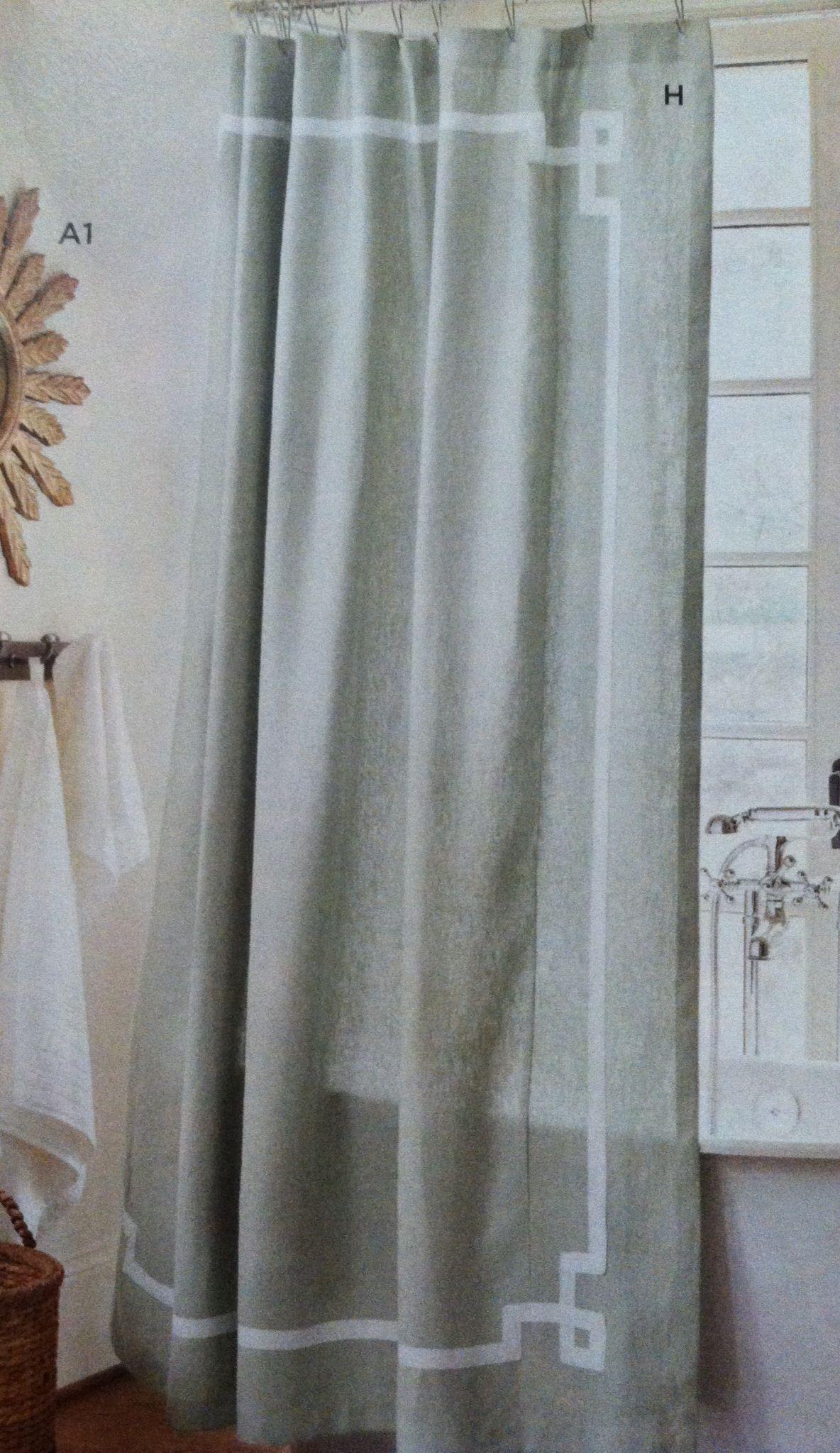 Ballard Designs Greek Key Shower Curtain With Ribbon Ballard