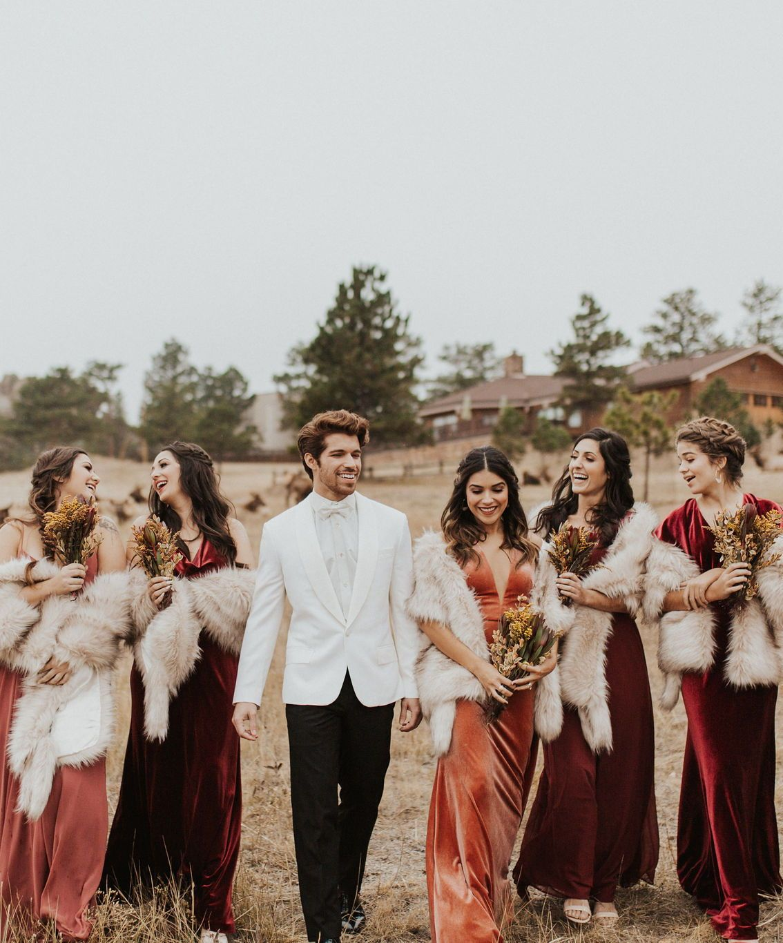 3f711e7eea3 Luxe Velvet bridesmaids dresses by Jenny Yoo! These stunning gowns in this  rustic shade called English Rose is the perfect autumn   fall bridal party  look.