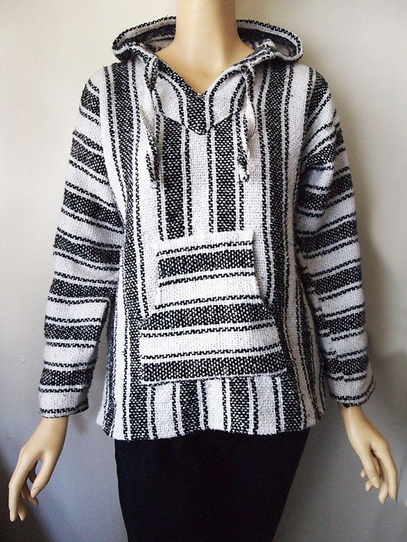 DRUG RUG // Vintage 90s Baja Hoodie Black and White Stripe Stoner Stash  Mexican Woven Jacket Unisex S