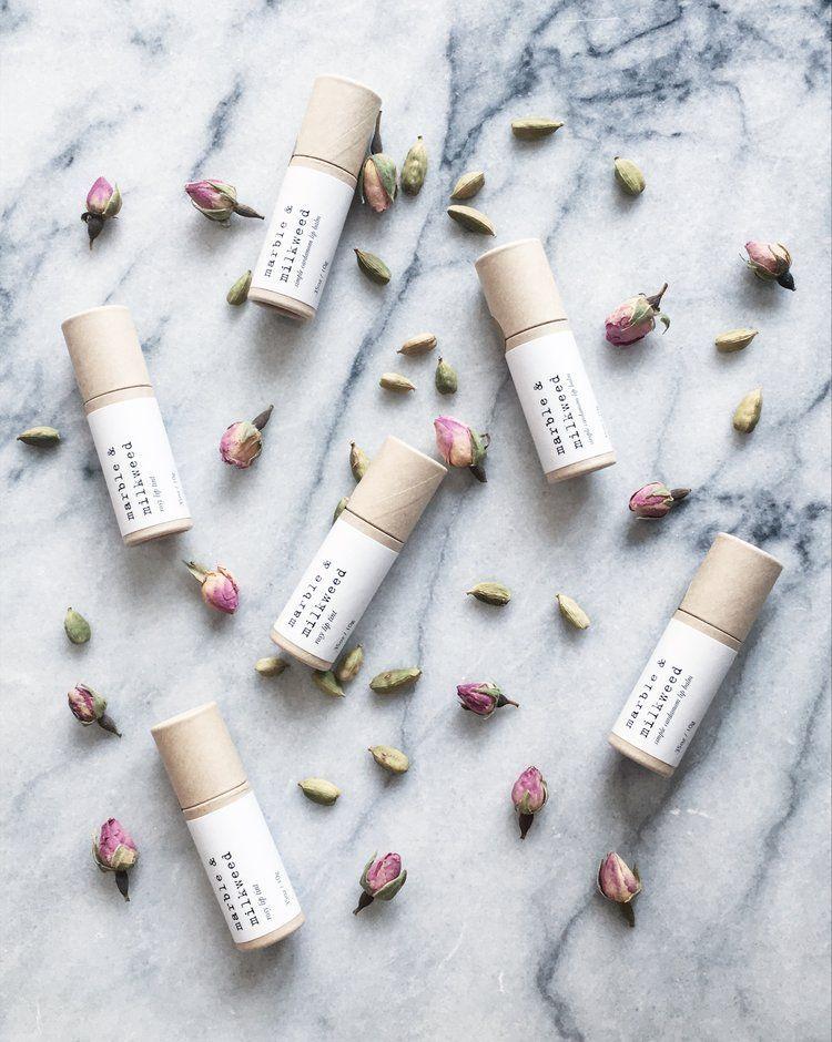 Photo of rosy lip tint + cardamom lip balm gift set — marble & milkweed