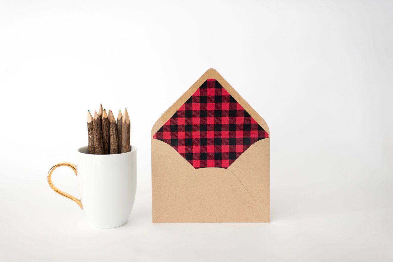 The buffalo plaid lined envelopes are sold in sets of 10 and come in ...
