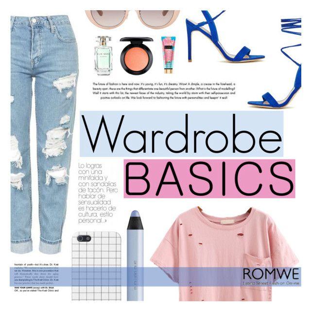 """Wardrobe Basics"" by tasnime-ben ❤ liked on Polyvore featuring Topshop, Linda Farrow, Elie Saab, MAC Cosmetics, shu uemura and romwe"