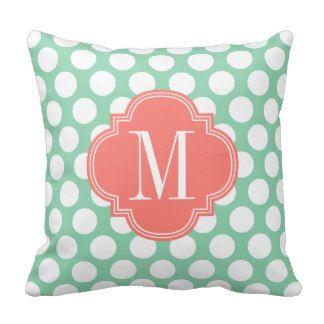 Dark Mint & Coral| Big Polka Dots Monogrammed Throw Pillows