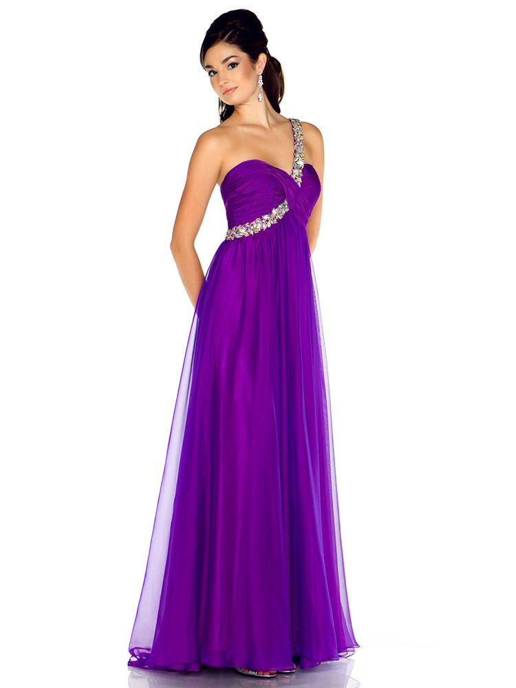 Empire One Shoulder Chiffon Floor-length Purple Rhinestone Prom ...