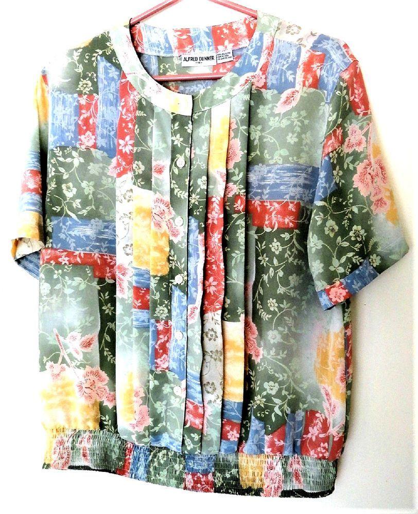 8c8e5019e2330 Alfred Dunner Women s Size 14 Pleated Polyester Short Sleeve Blouse Top  Shirt  AlfredDunner  Blouse  Casual
