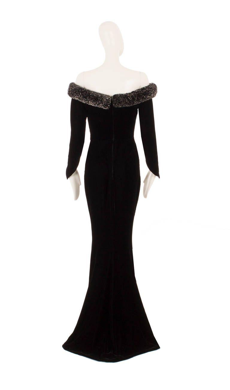 Thierry mugler black velvet dress circa thierry mugler