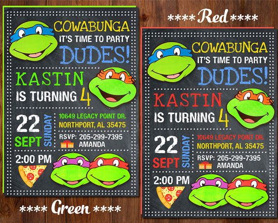 Ninja Turtle Invitation Ninja Turtles Party TMNT invitation