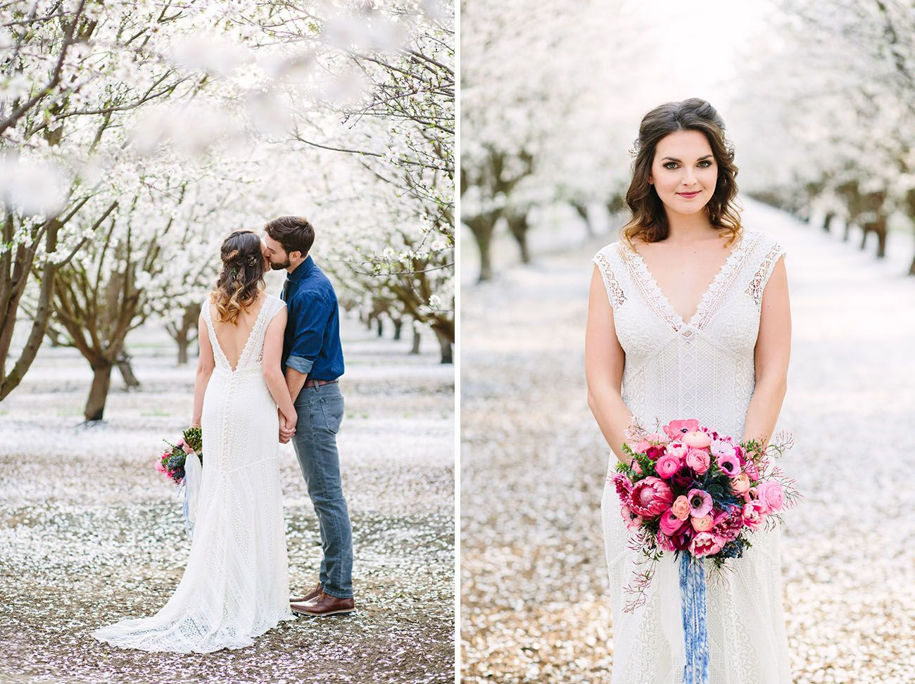 Modern bohemian wedding inspiration in the almond orchards