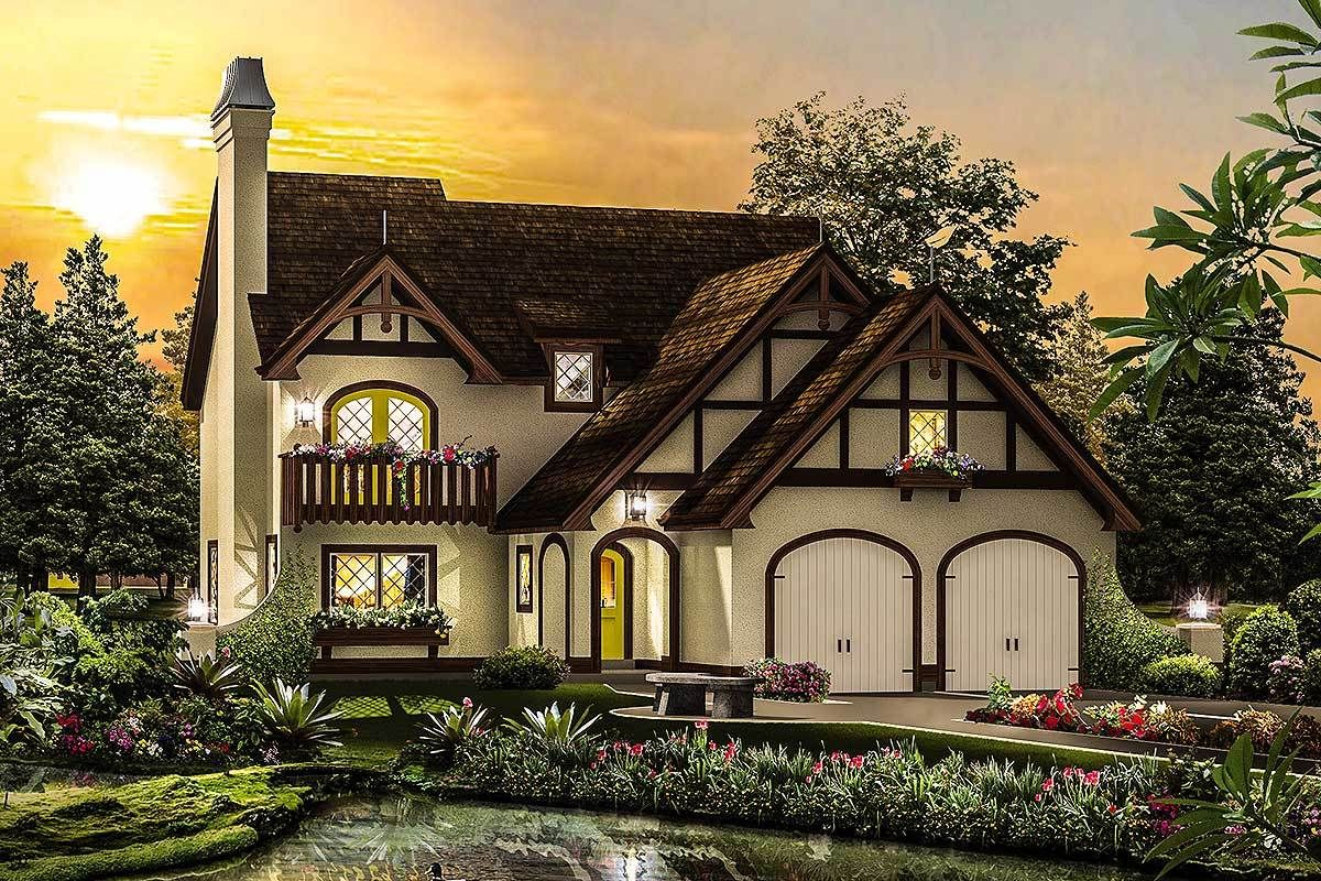 Plan 57265ha Narrow Lot Tudor Home Plan Tudor Style Homes Tudor House Architectural Design House Plans