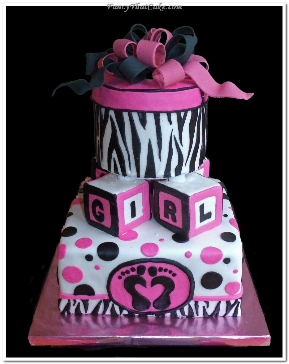 baby shower cakes for girls | Trendy Pink and Black Baby Shower Cake