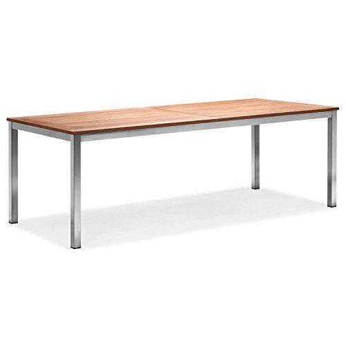 Zelsius - Edelstahl Gartentisch, Teak Holz Esstisch, 160 x 90 x 75 - ikea küche tisch
