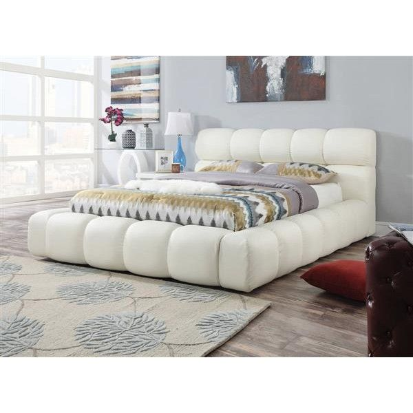 Acacia Ivory PU Plastic Queen Bed w/Padded Headboard ($75) ❤ liked