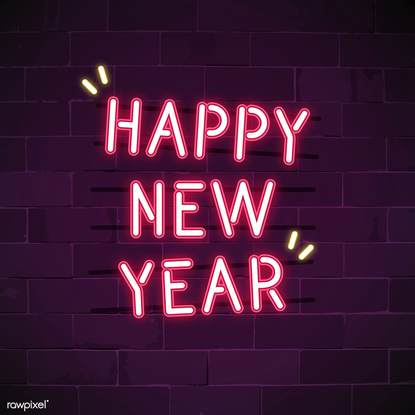 Pink happy new year neon sign vector free image by
