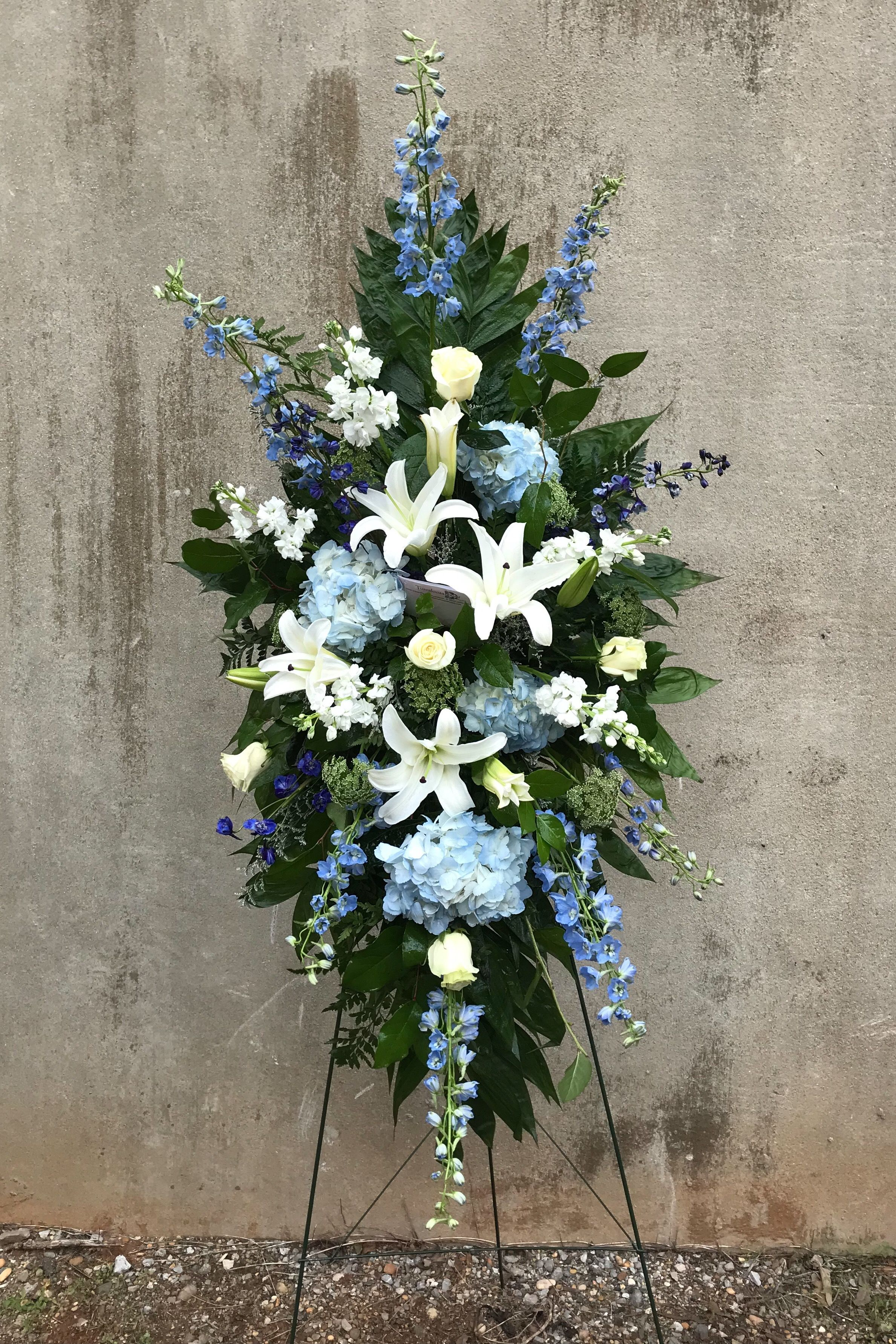 Blue And White Standing Spray Funeral Flowers Hope Flower Blue Delphinium