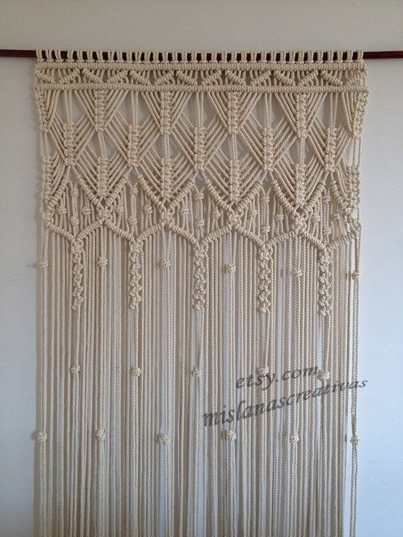 Macrame curtain handmade macrame wall hanging ecru - Makramee wandbehang ...