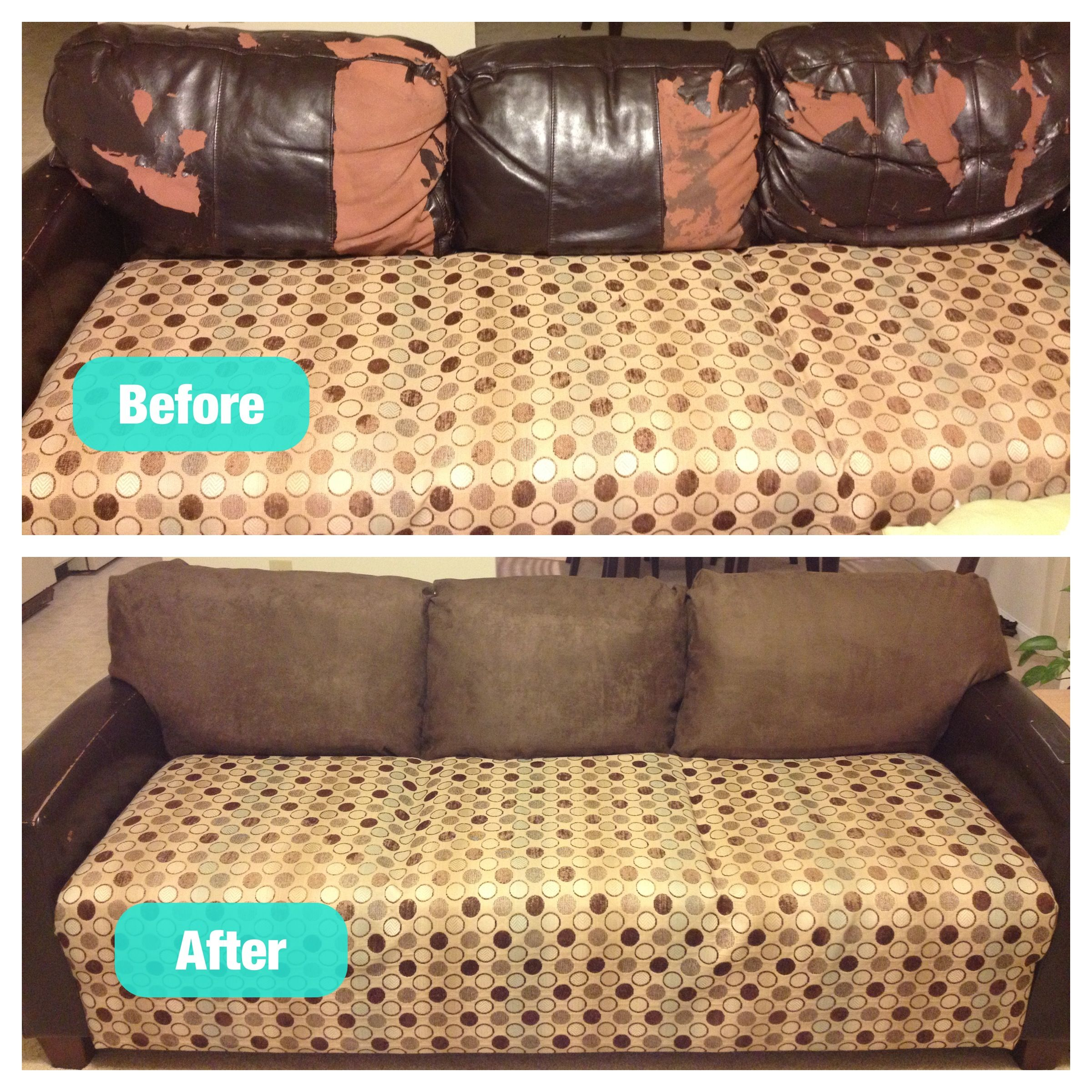 Fixed my peeling leather couch cushions for under $60 Not bad for