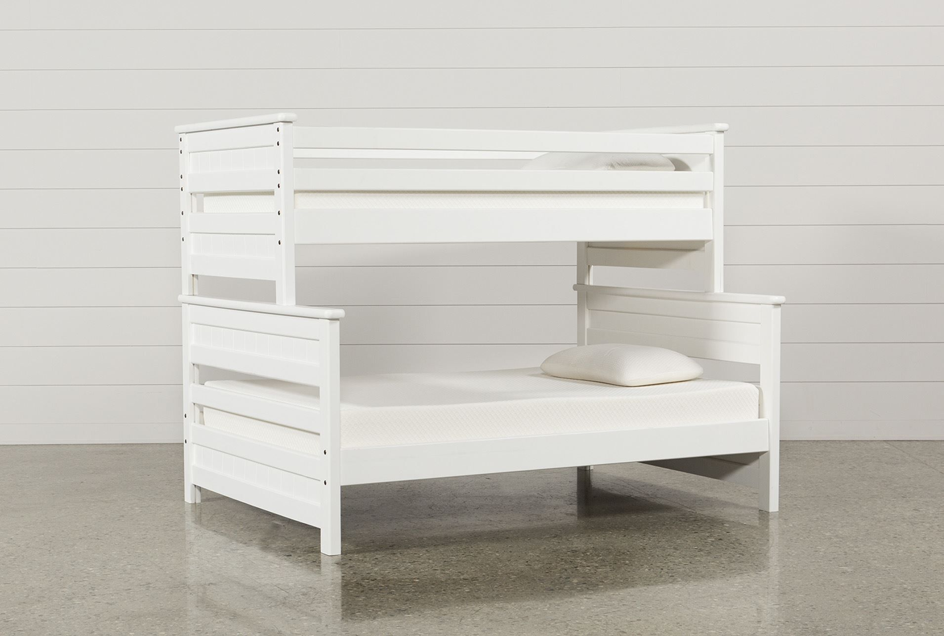 Loft bed with desk white  Twin Over Full Bunk Bed Summit White  Full bunk beds and Products