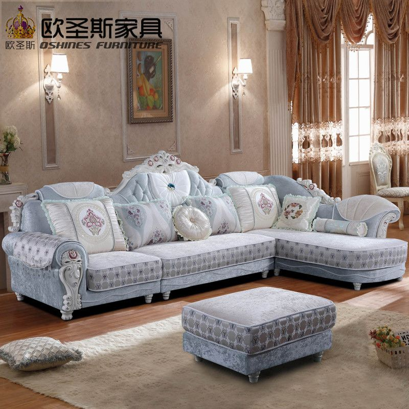 Luxury L Shaped Sectional Living Room Furniutre Antique Europe Design Classical Corner Wooden Carving Fabr Corner Sofa Design Sofa Design Living Room Sectional