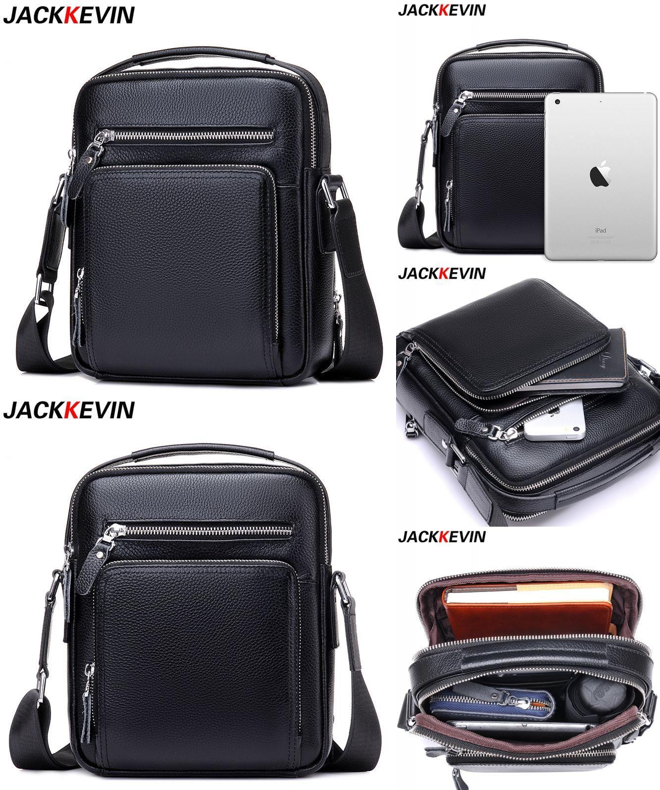 b1f3bbd8e1de  Visit to Buy  JACKKEVIN Top Quality 100% Genuine Leather Bag Men iPad  Tabelt