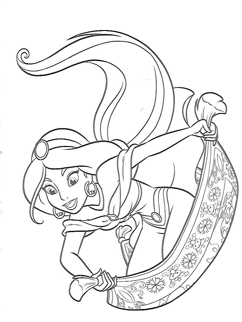 Jasmine On The Flying Carpet Cartoon Coloring Pages Disney Princess Coloring Pages Disney Coloring Pages