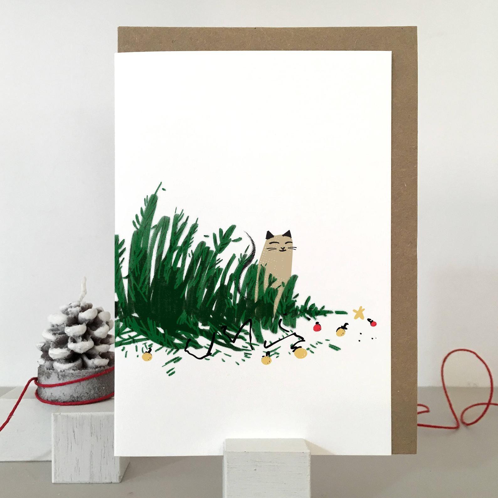 Katze Weihnachtskarte, freche Katze Karte für Weihnachten