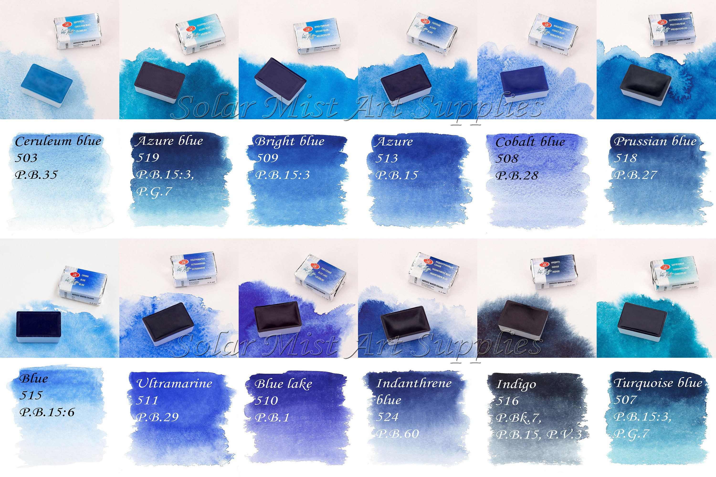 d8d05ad5d8e45 BLUE TURQUOISE Watercolor Colors Paint CUSTOM Set 2,5ml full pans ...