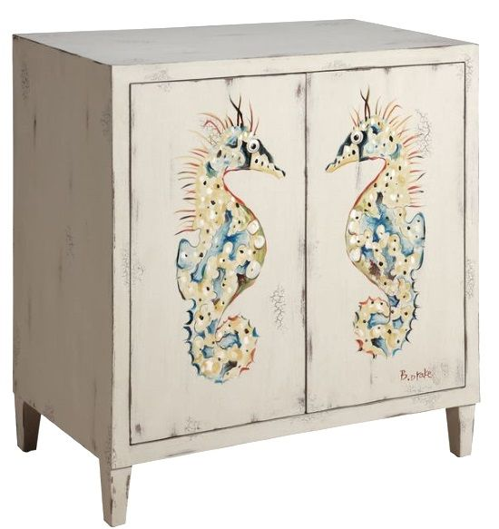 Coastal Artwork Painted Storage Cabinets Artistic Touch Shelves Magnetic Closure