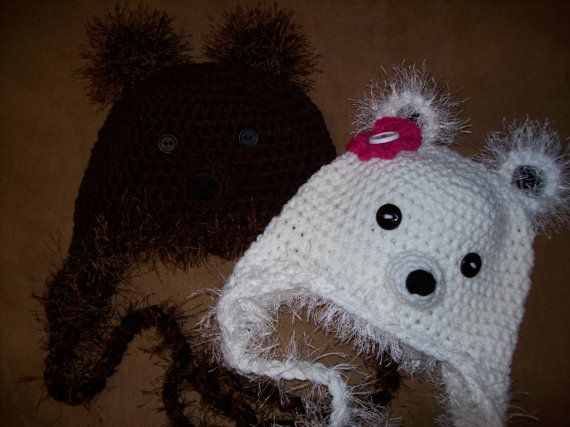 Crochet Fuzzy Brown Bear OR Fuzzy Polar Bear by CuddleMeBeanies, $6.99