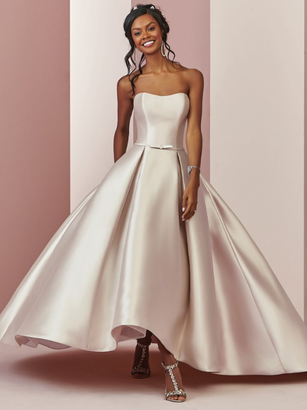 High Low Satin Wedding Dress With Pockets Plus Size Wedding