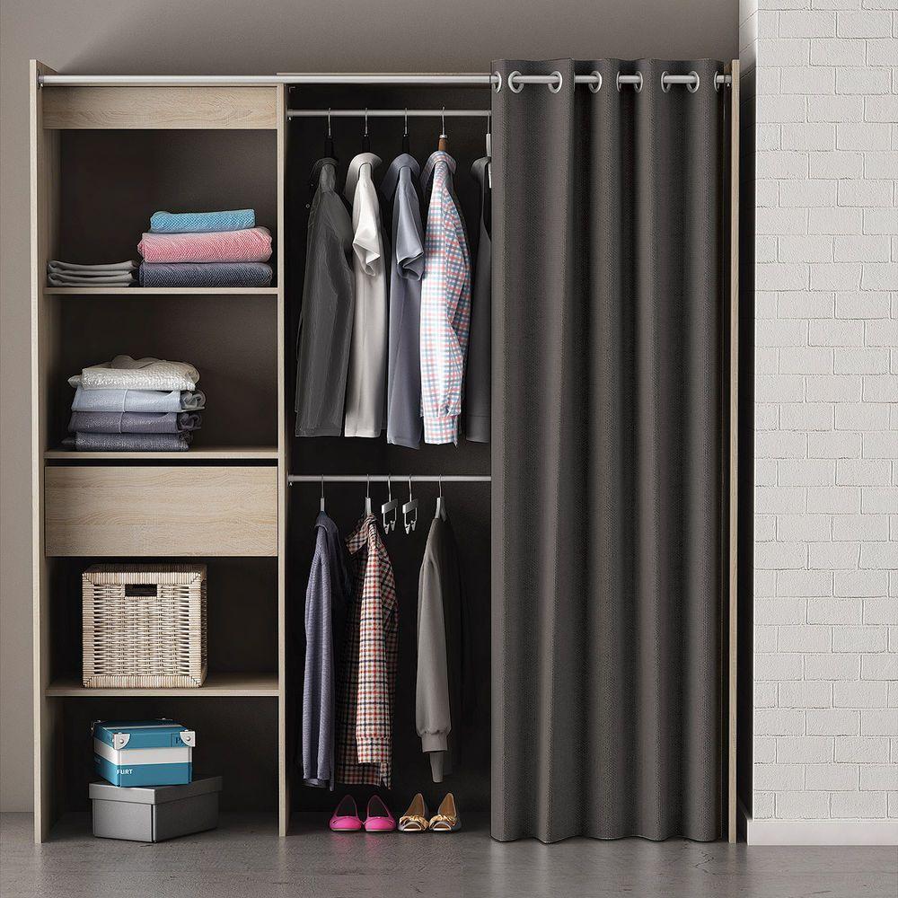 Cool Kleiderschrank Chicago Garderobe Regal Schrank Sonoma eiche mit Vorhang