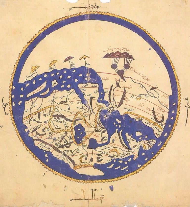 Al idrisis world map from al ibn hasan al hf al qsims 1456 muhammad al idrisis world map oriented with the south at the top 21 x 30 cm held at bodleian library oxford gumiabroncs Images