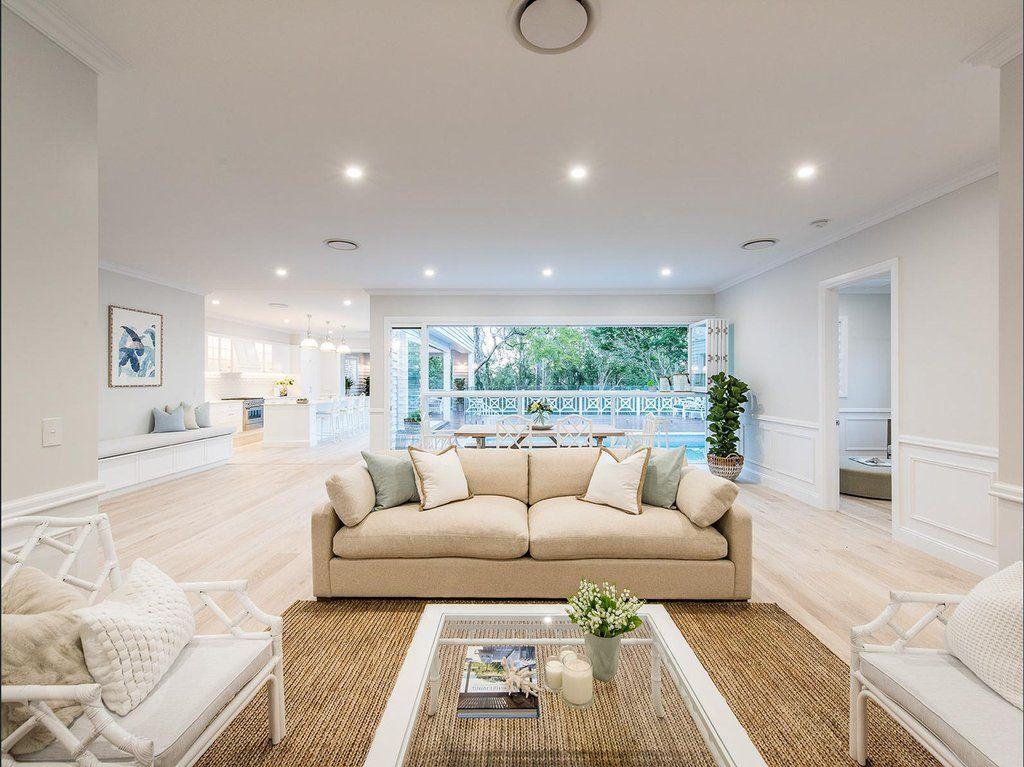 Stunning Hamptons/Queenslander-Style Home In Brisbane | Hamptons Style Living Room, Hamptons Style Homes, Living Room Diy