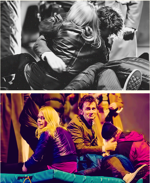 David Tennant and Billie Piper being adorable on set