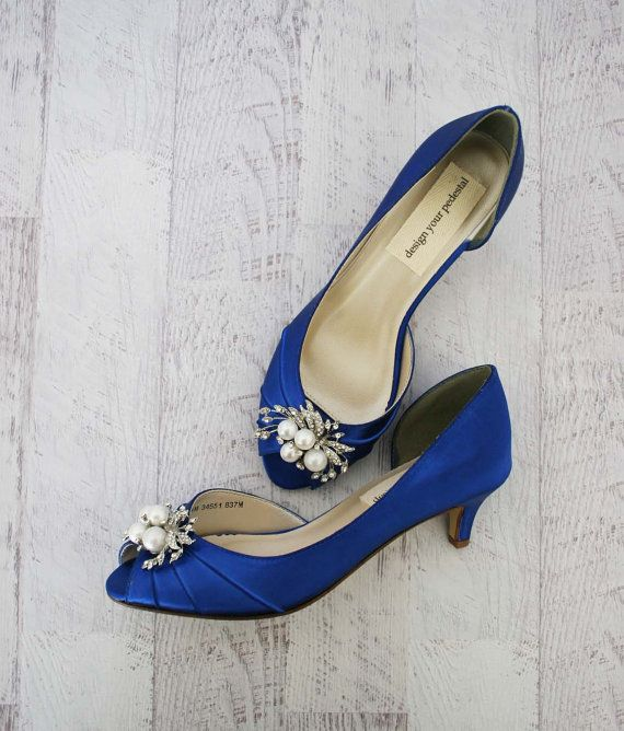 Low Heel Wedding Shoes Blue Wedding Shoes For Bride Custom Etsy Blue Wedding Shoes Wedding Shoes Heels Blue Wedding Shoes Low Heel