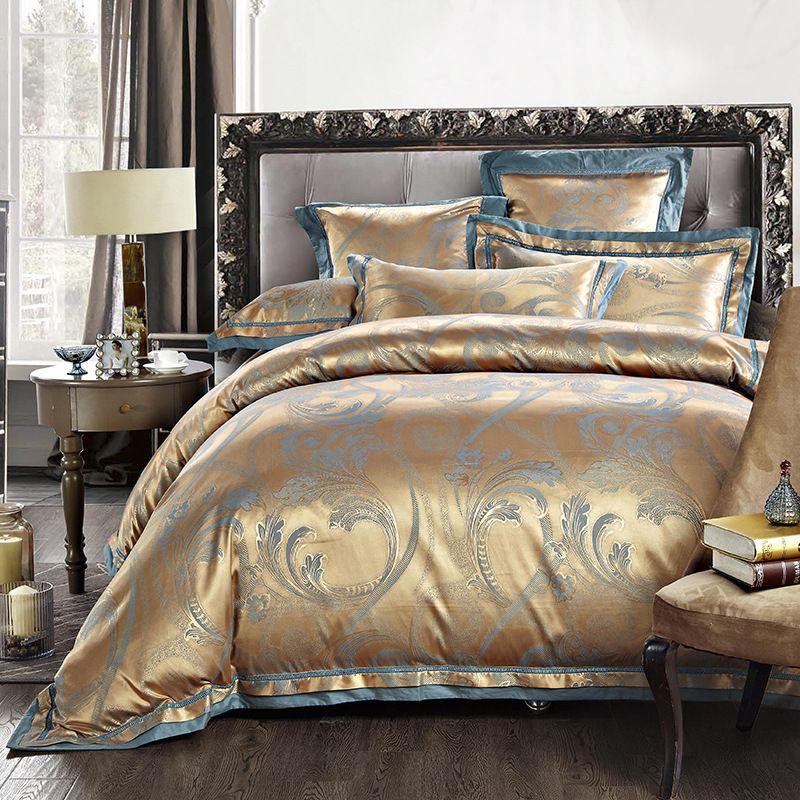 Hot luxo cetim de algodão Jacquard cama Set rei roxo de ouro 4 / 6 pcs de cama colcha de linho lençol frete grátis em Roupas de cama de Casa & jardim no AliExpress.com | Alibaba Group