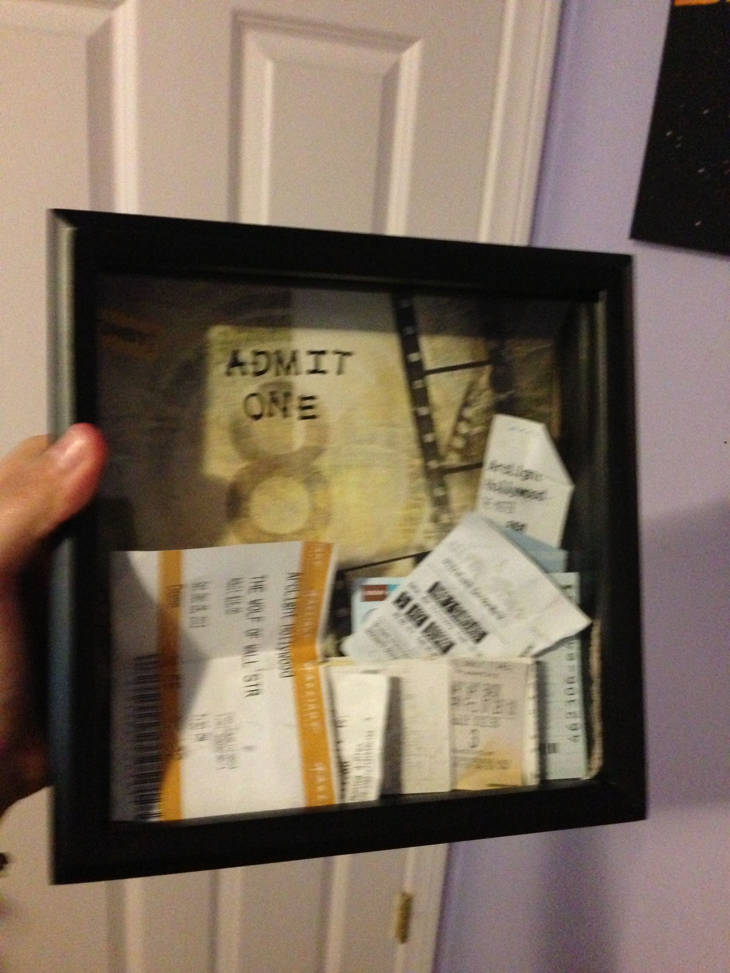 ticket stub box made myself found a shadow box at michaels with a slot in the top for 15. Black Bedroom Furniture Sets. Home Design Ideas