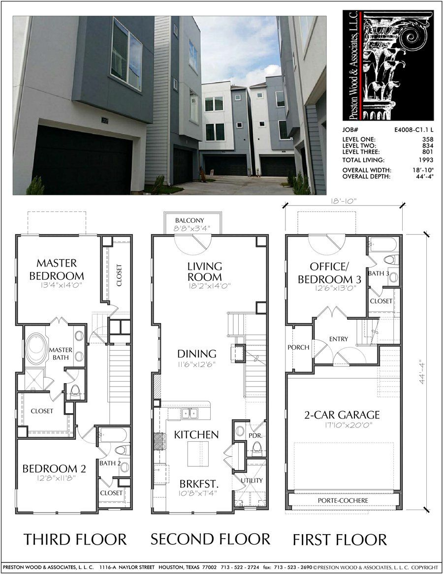 Three Story Townhouse Plan E4008 C1 1 Town House Floor Plan Garage House Plans Town House Plans