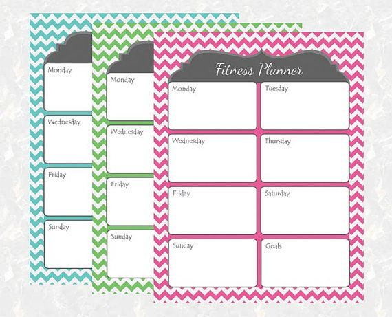 Chevron Fitness Planner Printable - DIY Instant Download - Workout ...
