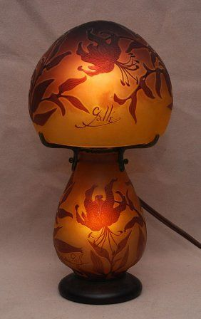 Cameo Glass Table Lamp By Emile Galle Domed Shade Art Antique