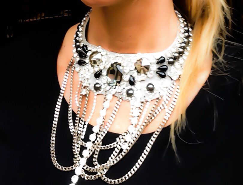 New collection whitefashionroma A/I 2014 collana realizzata con Swarovski pietre dire e catena realizzata a mano